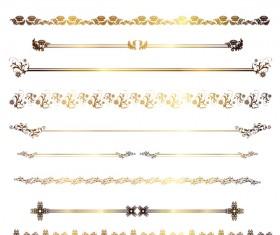 Golden borders decor vectors set