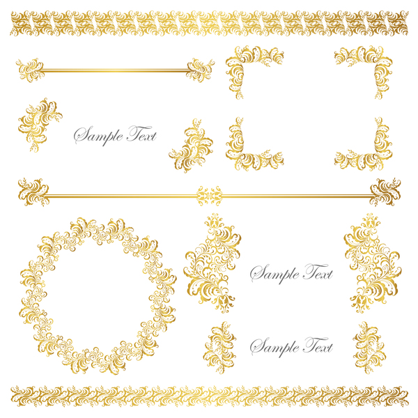 Golden Decor Calligraphy With Frame And Borders Vector 01