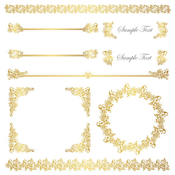 Golden decor calligraphy with frame and borders vector 02