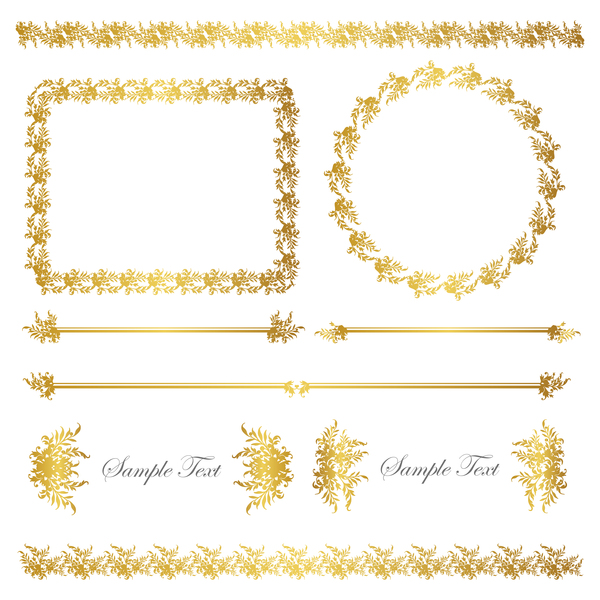 Golden decor calligraphy with frame and borders vector 03