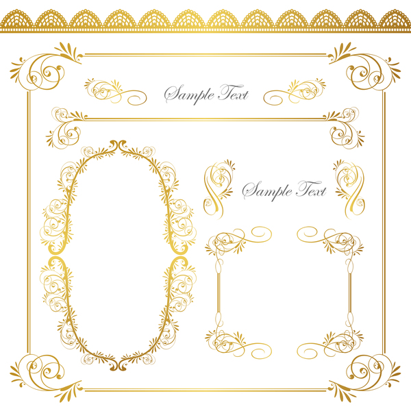 Golden decor calligraphy with frame and borders vector 04