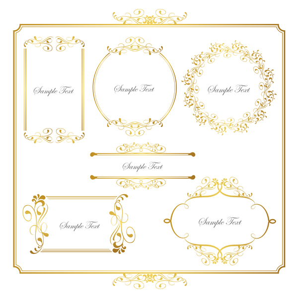 Golden decor calligraphy with frame and borders vector 05