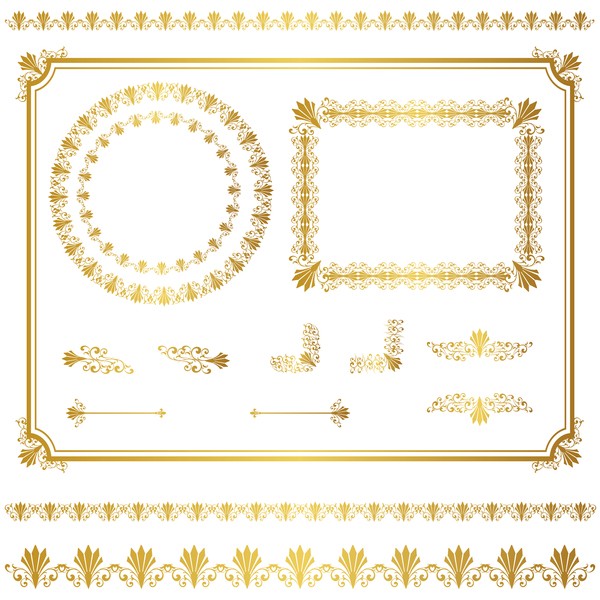 Golden decor calligraphy with frame and borders vector 06