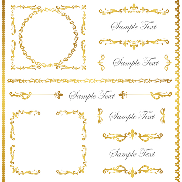 Golden decor calligraphy with frame and borders vector 08