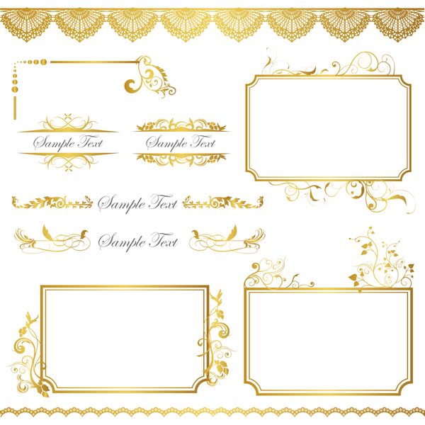 Golden decor calligraphy with frame and borders vector 11