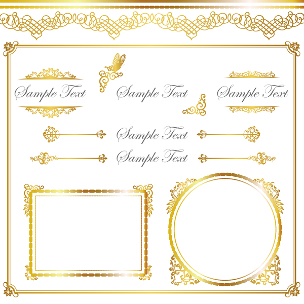 Golden decor calligraphy with frame and borders vector 12