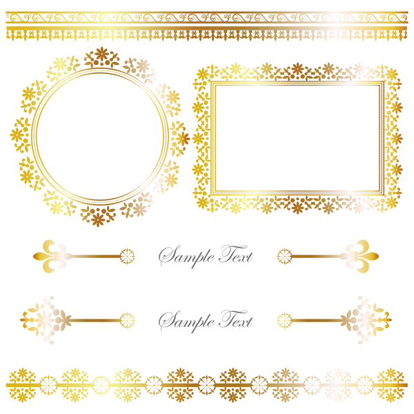 Golden decor calligraphy with frame and borders vector 13