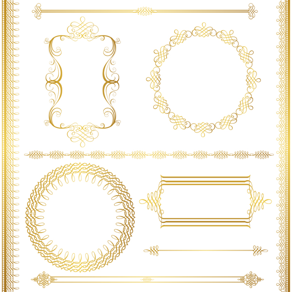 Golden decor calligraphy with frame and borders vector 15