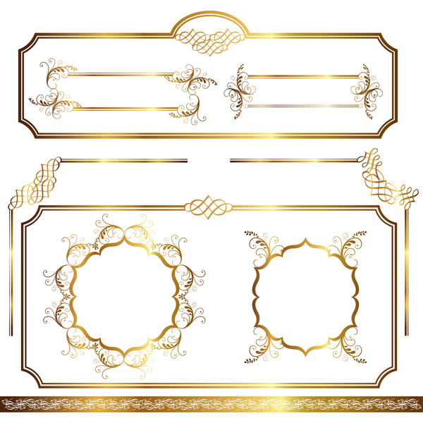 Golden decor calligraphy with frame and borders vector