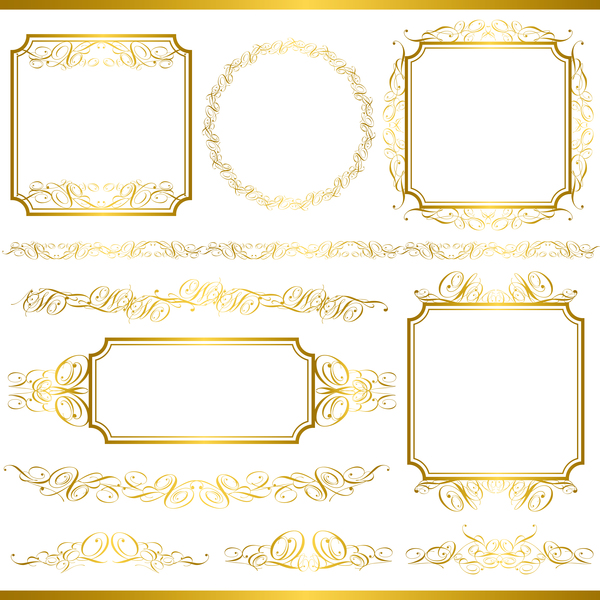 Golden decor calligraphy with frame and borders vector 17