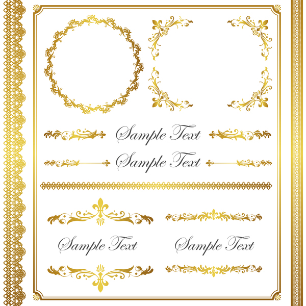 Golden Decor Calligraphy With Frame And Borders Vector 18