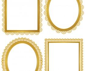 Golden lace frame vectors set