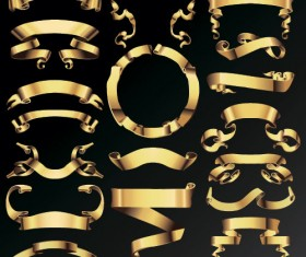 Golden ribbon banners wave vector 02
