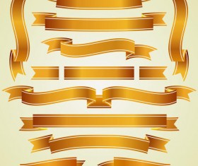 Golden ribbon banners wave vector 03