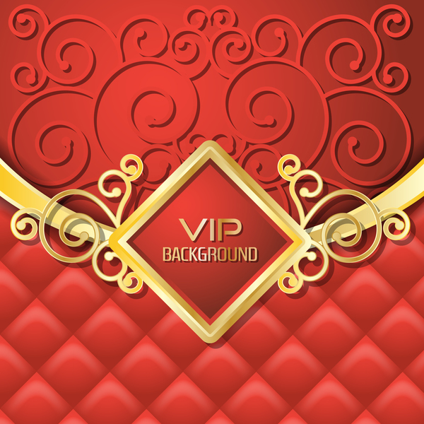 Golden with red VIP background vector 01
