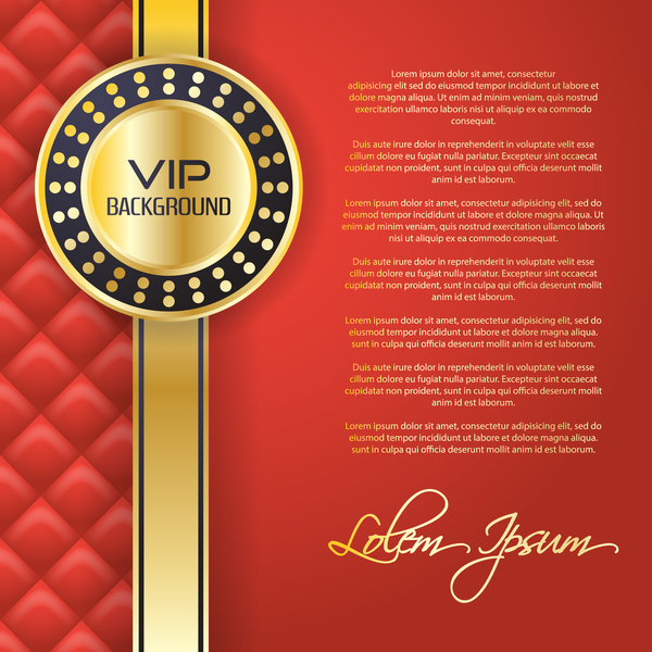 Golden with red VIP background vector 03