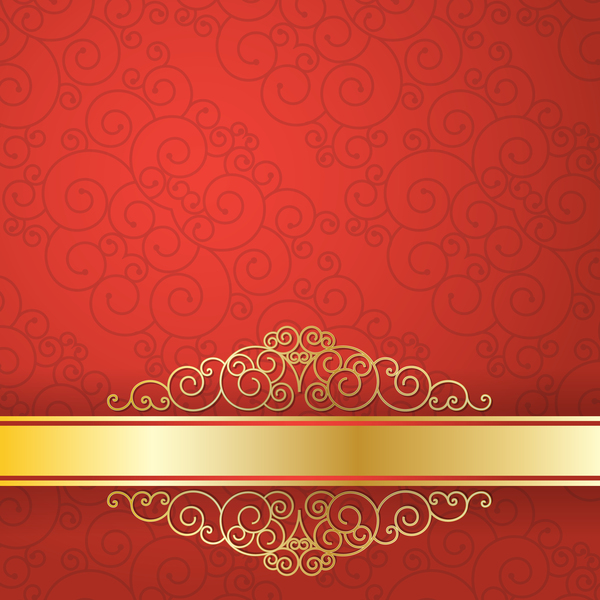 Golden with red VIP background vector 04
