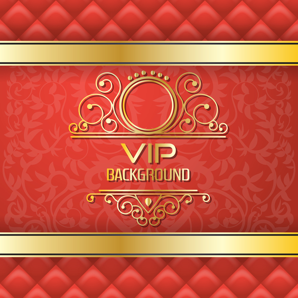 Golden with red VIP background vector 05