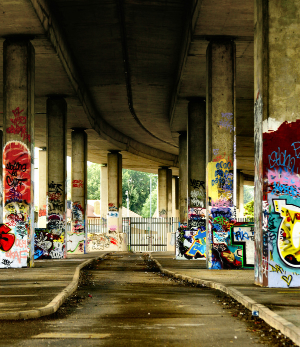 Graffiti works on viaduct piers Stock Photo