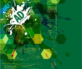 Green abstract background with grunge vector