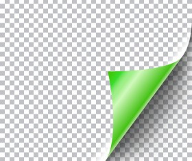 Green paper curled corners vector illustration
