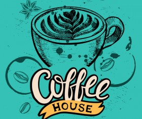 Green styles coffee poser template vector 03