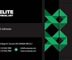 Green with black business card front vector