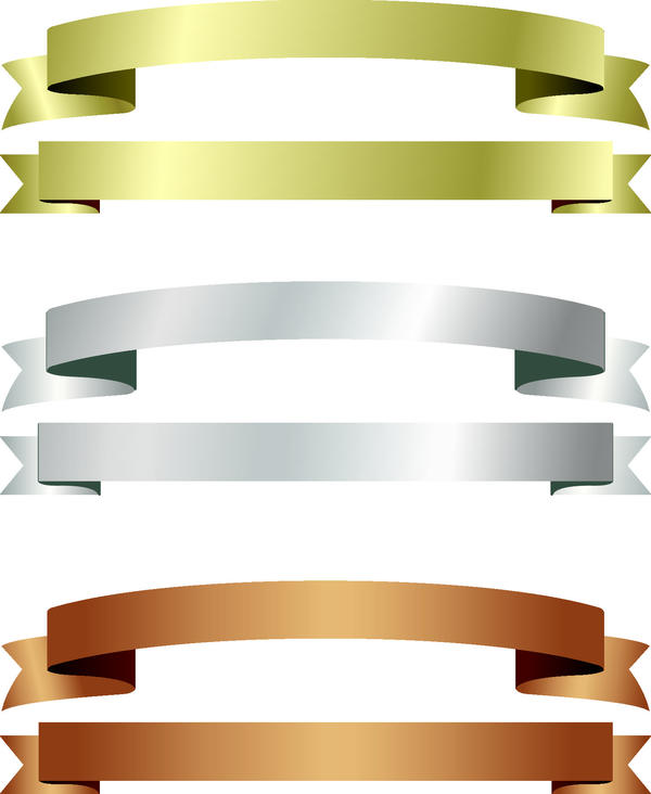 Green with brown and gray ribbon vectors
