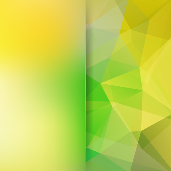 Green with yellow polygon background vector 02