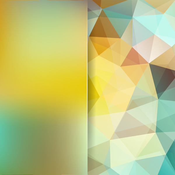 Green with yellow polygon background vector 03