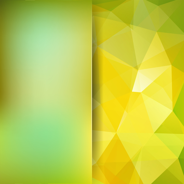 Green with yellow polygon background vector 05