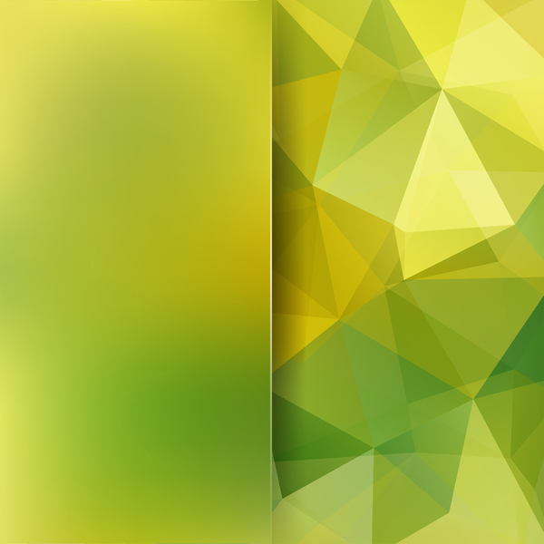 Green with yellow polygon background vector 06