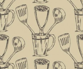 Hand drawn kitchen utensils seamless pattern vector 02
