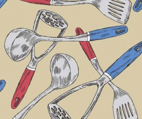 Hand drawn kitchen utensils seamless pattern vector 03