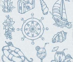 Hand drawn sea elements vector 01