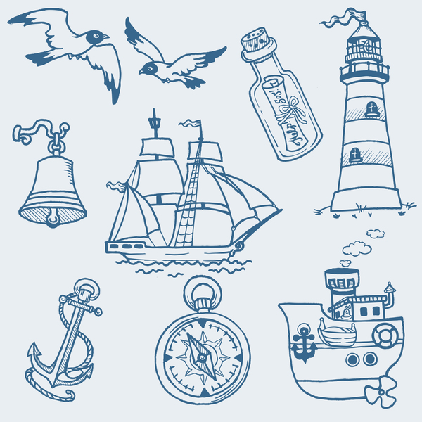 Hand drawn sea elements vector 02