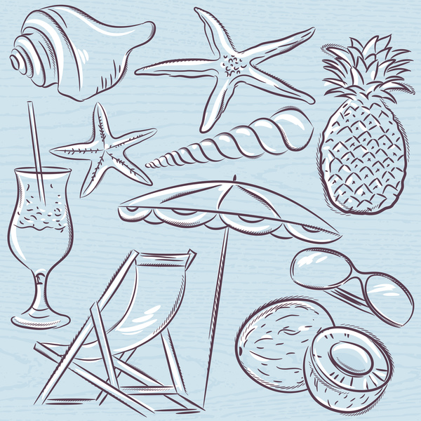 Set of  summer symbols, clams, shells, cocktail, starfish, umbre