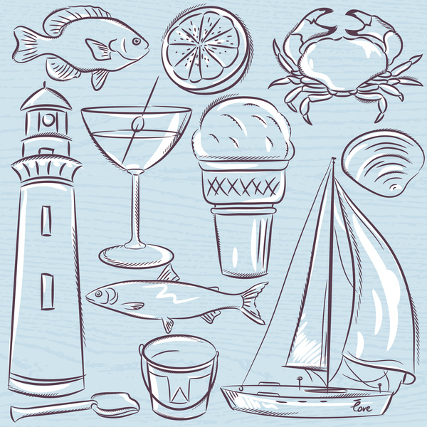 Set of  summer symbols, shells, crab, boat, cocktail, lighthouse