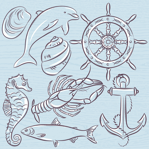 Hand drawn sea elements vector 06