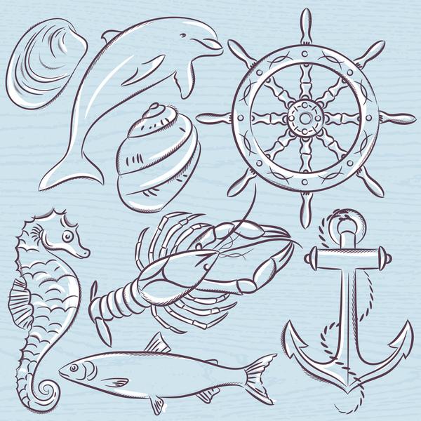 Set of  summer symbols, ship rudder,anchor, shells, lobster,dolp