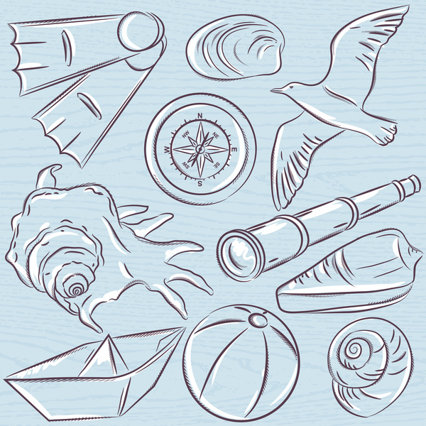 Hand drawn sea elements vector 07