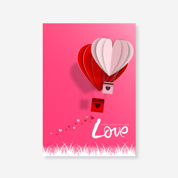 Happy Valentines Day Greeting card with origami vector 01