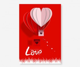 Happy Valentines Day Greeting card with origami vector 02