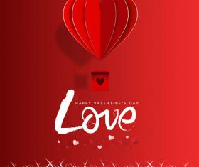 Happy Valentines Day Greeting card with origami vector 03