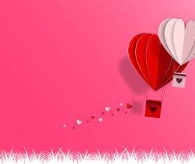 Happy Valentines Day Greeting card with origami vector 04
