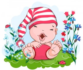 Happy baby in a pink hat vector