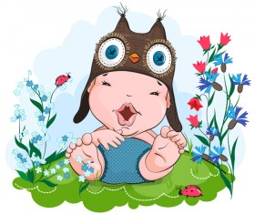 Happy baby in the owl hat vector