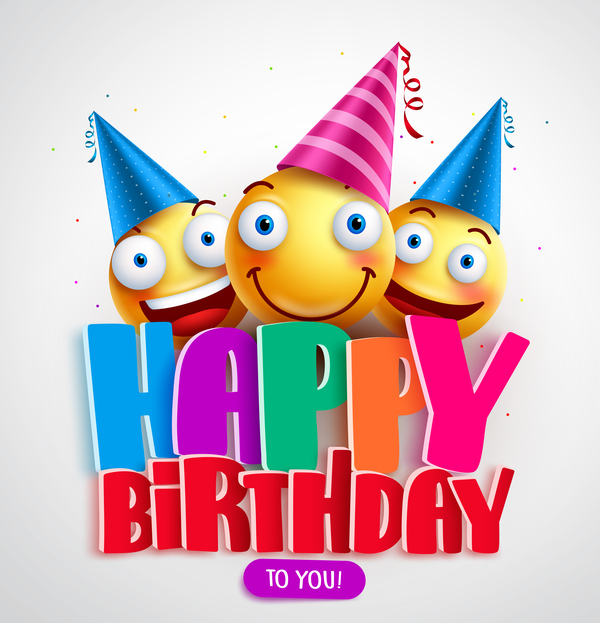Happy birthday background with funny expression vector 01