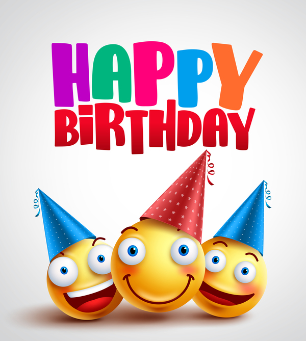 Happy birthday background with funny expression vector 02