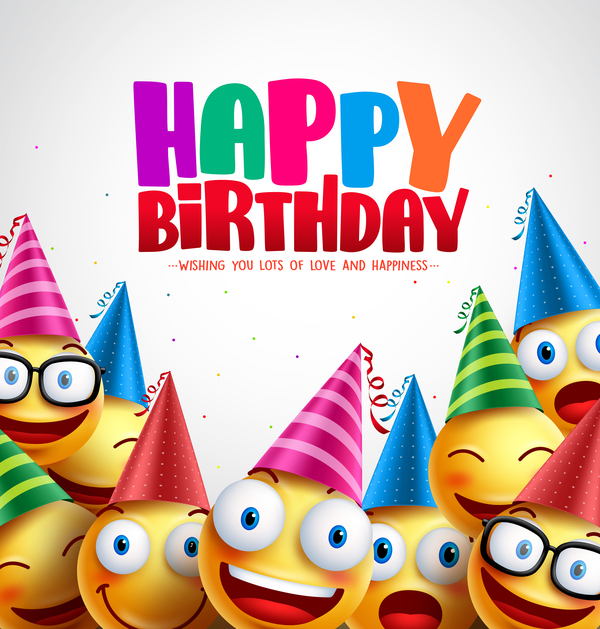 Happy birthday background with funny expression vector 03